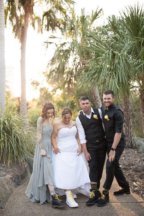 Tie back strapless plus size wedding gown